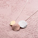 Personalised Tricolore Triple Hammered Disc Necklace angled