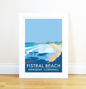 Fistral Beach Newquay Vintage Style Seaside Poster