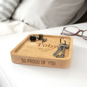 Personalised Wooden Graduation Coin Tray