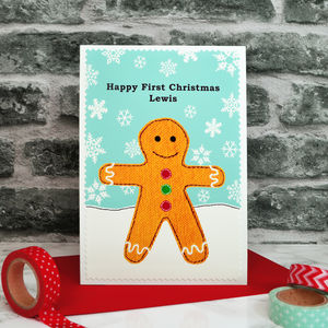 'Gingerbread' Personalised First Christmas Card - first christmas cards