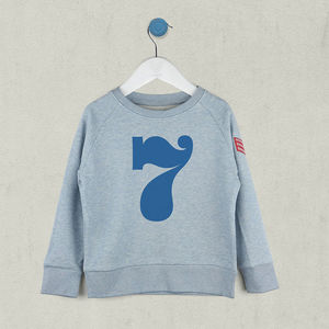 Age Seven Sweatshirt Blue Or Pink - clothing