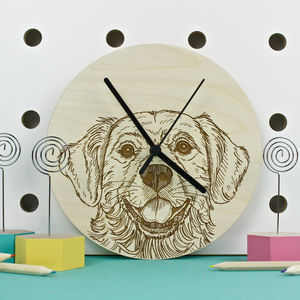 Golden Retriever Portrait Wall Clock - clocks