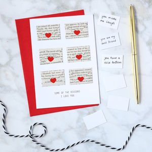 Six Love Note Mini Envelope Valentine's Card - valentine's cards