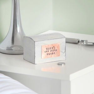 Personalised Copper On Money Box - money boxes