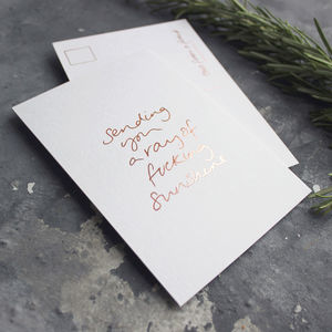 'Sending You A Ray Of Fucking Sunshine' Foil Postcard