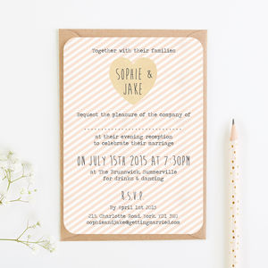 Peach Stripe Evening Invite