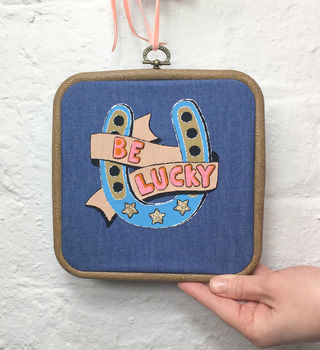 Embroidered Lucky Horseshoe Hoop Sign