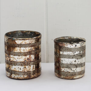 Oxidised Copper Glass Votive