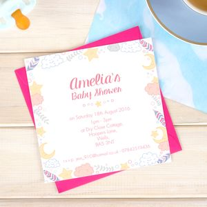 Square Personalised Baby Shower Invitation Pack - what's new