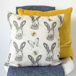 Hare And Bees Cushion - cushions