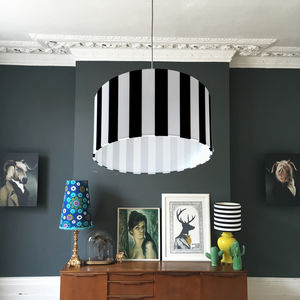 Beetlejuice Monochrome Striped Lampshade - dining room