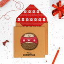 Personalised Cute Jumper Hedgehog Christmas Card