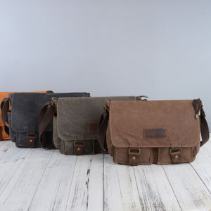 Waxed Canvas Water Repellent Postman Shoulder Bag