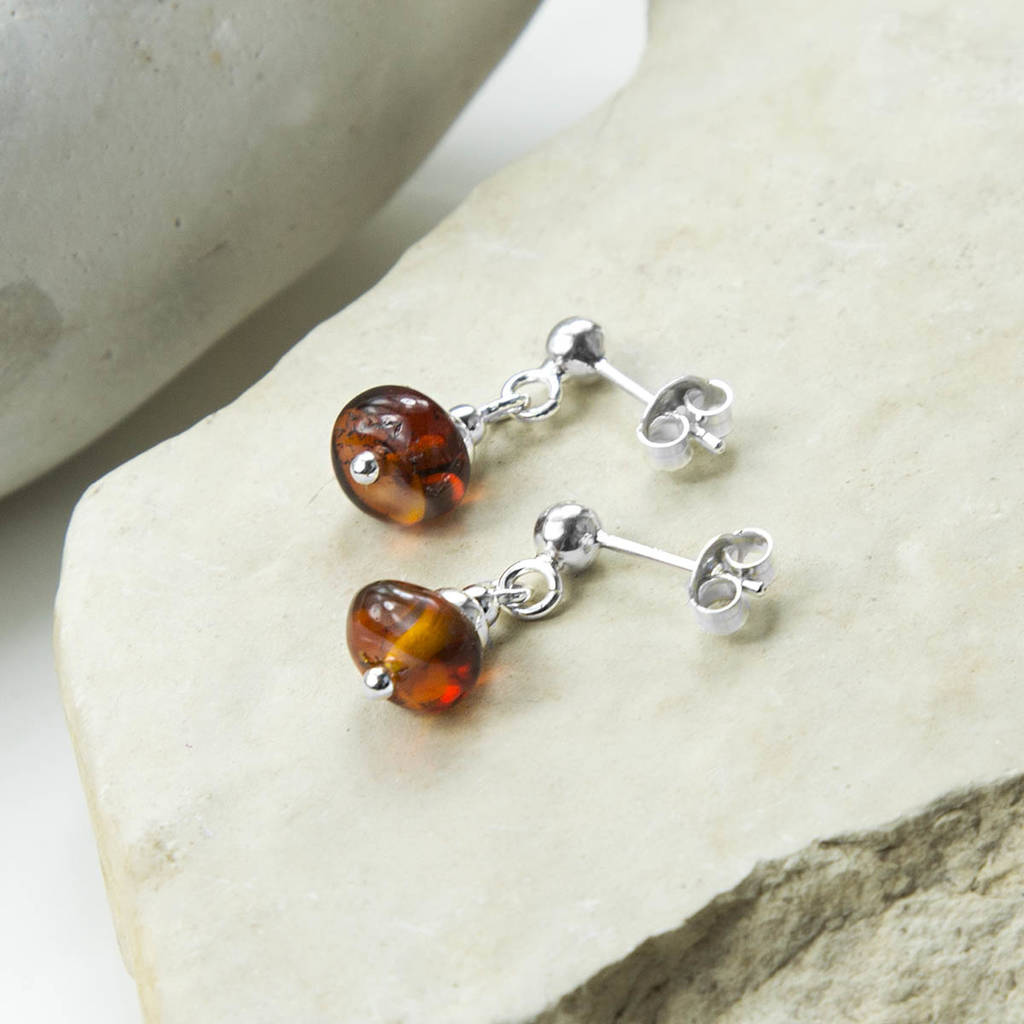 f61e1902d silver delicate toffee amber drop stud earrings by martha jackson ...