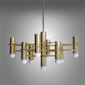 Modernist Brass Chandelier By Boulanger - living room