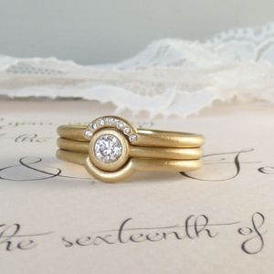 Trinity Set Of Ethical Wedding And Engagement Rings - gold