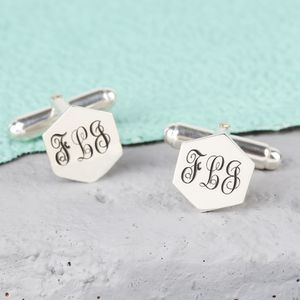 Personalised Sterling Silver Hexagonal Cufflinks - personalised accessories