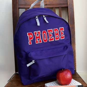personalised backpack varsity purple