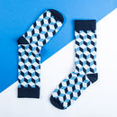 Blue Geometric Sock For Men