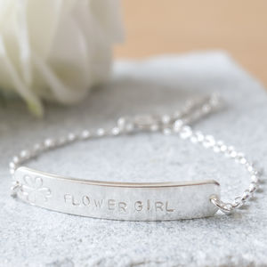 Personalised Flower Girl Silver Bracelet - be my bridesmaid?