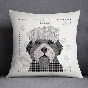 Dandie Dinmont Personalised Dog Cushion Cover