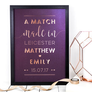 Personalised A3 Foil Print 'A Match Made In ?'