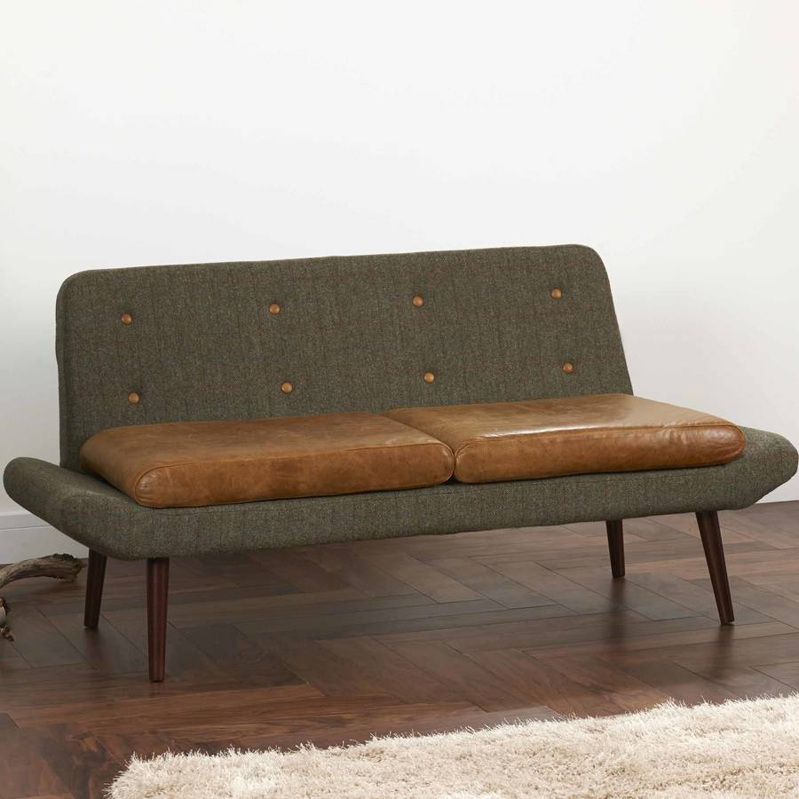 vintage leather or harris tweed sofa one or two seater by
