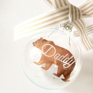 Personalised Bear Glass Bauble - tree decorations