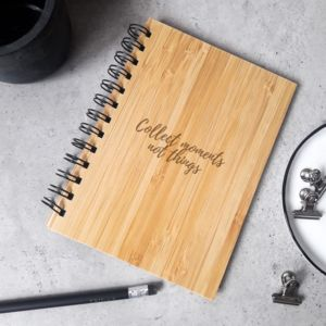 Any Text Personalised Notebook With Wooden Cover