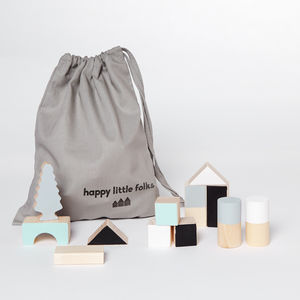 Monochrome And Mint Wooden Blocks - dreamland nursery
