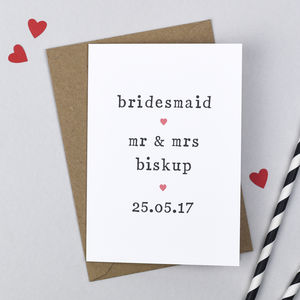 Personalised Bridesmaid Card - wedding thank you gifts