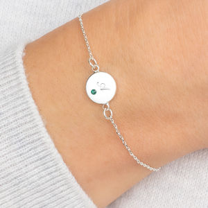 Personalised Dotty Initial Disc Birthstone Bracelet - march birthstone