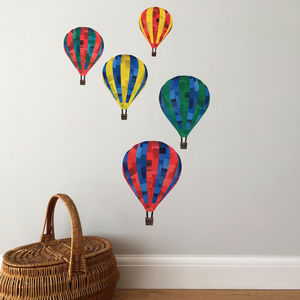 Hot Air Balloon Fabric Wall Sticker Set - home accessories