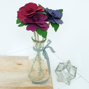 Third Anniversary Leather Roses In Glass Carafe