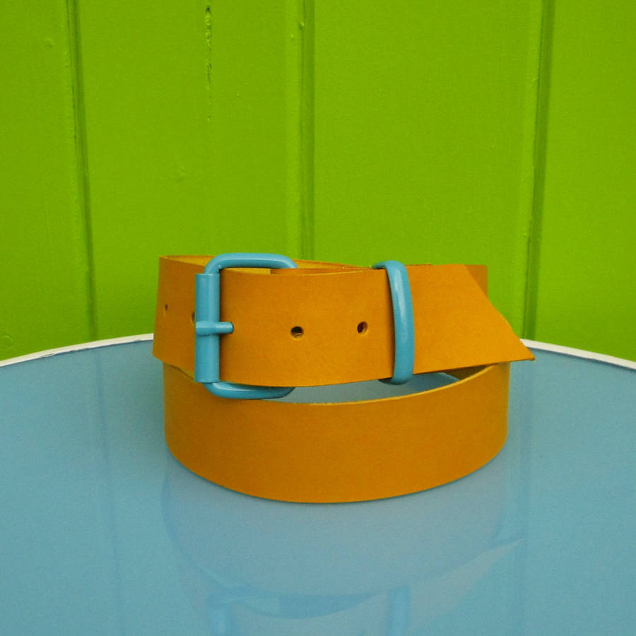 yellow leather belt by teal notonthehighstreet