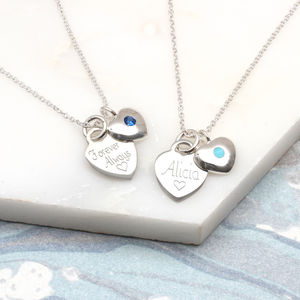 Birthstone Personalised Sterling Silver Heart Necklace