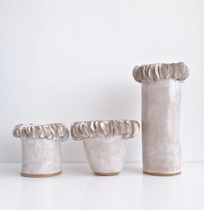 Handmade White Ceramic Vase With Frill Edge - vases