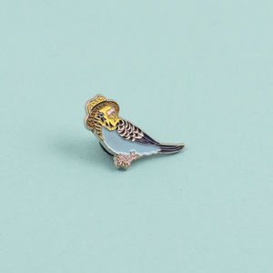 Budgie In A Trilby Enamel Pin Badge