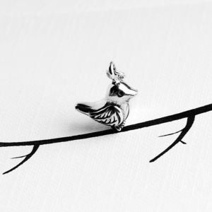 Small Bird Charm In Sterling Silver
