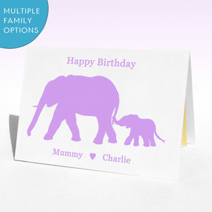 Personalised Birthday Elephants Birthday Card - animals & wildlife