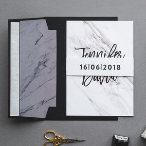 Monochrome Marble Wedding Invitations - invitations