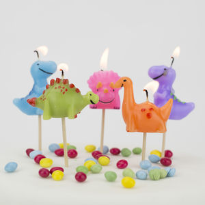 Dinosaur Birthday Cake Candles - lanterns & party candles