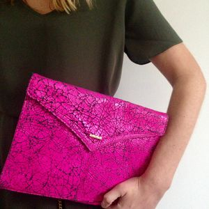 Edie Pink Leather Clutch Bag - colour pop leather