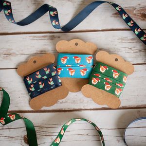 Fox Christmas Jumpers Hats Foxes Ribbon Gifts Craft