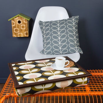 Bean Bag Cushioned Lap Tray In Orla Kiely Seagrass