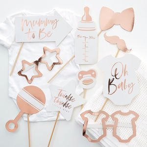 Rose Gold And White Baby Shower Party Photo Booth Props