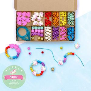 Personalised Unicorn And Rainbow Bracelet Making Kit - baby & child