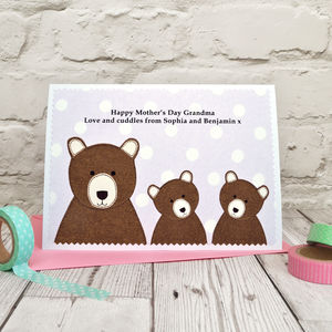 'Bears' Personalised Birthday Card / Mother's Day Card