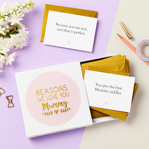Personalised Foiled Reasons I Love Mum Notes - personalised mother's day gifts