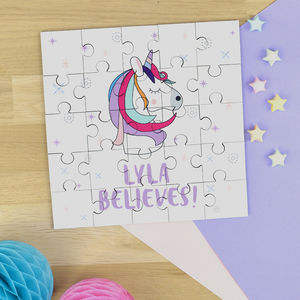 Personalised Unicorn Jigsaw Puzzle In Pink Bag